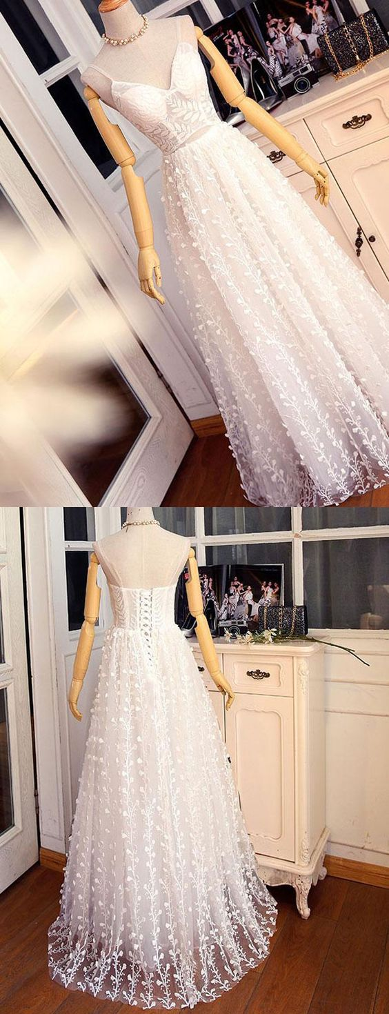 Fashion A Line Spaghetti Straps White Long Prom Dress with Lace, D0172