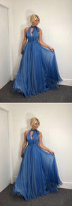 A-Line High Neck Sleeveleess Chiffon Long Prom/Evening Dress, D0173