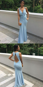 Unique A-Line V-Neck Sleeveless Open Back Light Blue Long Prom Dress, D0174