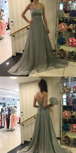 Unique A-Line Spaghetti Straps Grey Chiffon Long Prom/Evening Dress, D0175