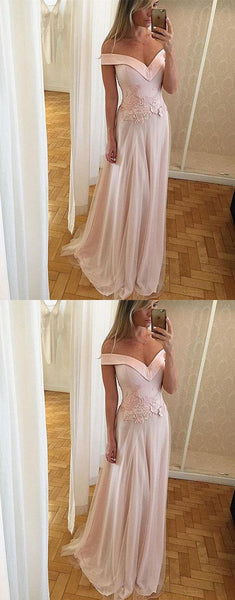 Elegant A-Line Off-The-Shoulder Pearl Pink Long Prom Dress With Appliques, D0176