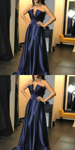 Glamorous A-Line Strapless Navy Blue Long Prom/Evening Dress, D0178