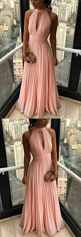 Sexy Pleated Chiffon Prom Dresses Halter Evening Gowns , D0183