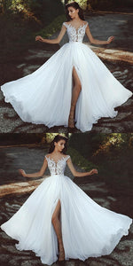 Elegant Lace Appliques Cap Sleeves Chiffon Wedding Dresses With Leg Slit , D0184