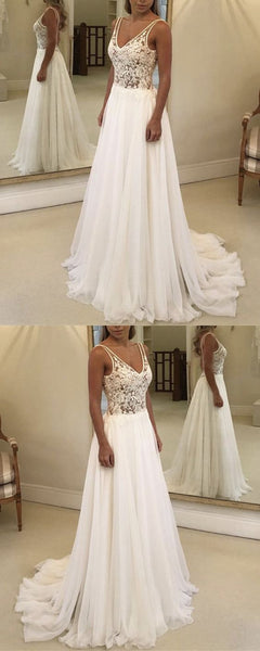 Boho Lace Bodice Chiffon V-neck Wedding Beach Dresses,D0185