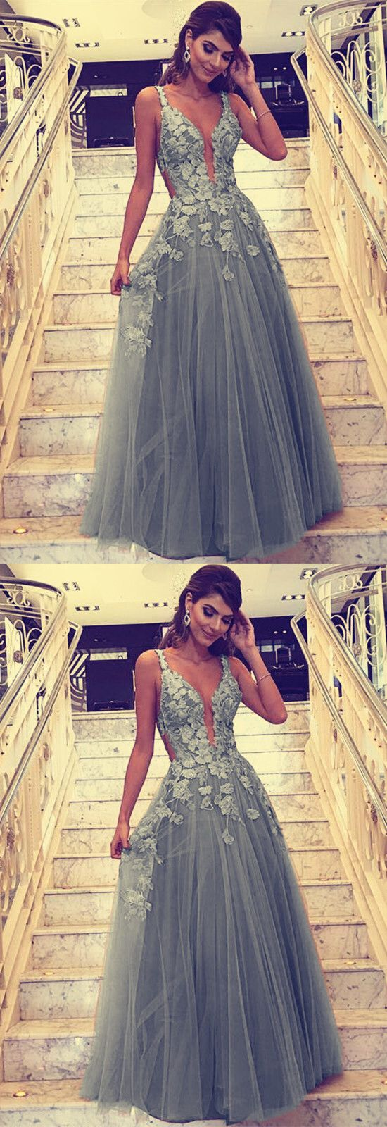gray tulle prom dresses long formal evening gowns lace embroidery , D0188