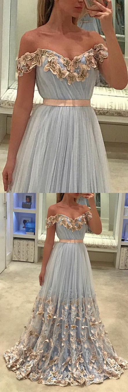 Light Blue Tulle Off The Shoulder Evening Gowns Lace Embroidery Prom Dresses,D0189
