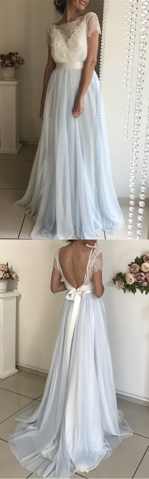 Modest Lace Short Sleeves Tulle Backless Wedding Dresses,D0191