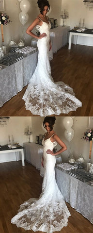 Sexy Spaghetti Straps Sweetheart Lace Mermaid Wedding Dresses 2019,D0193