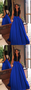 Black Beaded Top Bow Sashes Floor Length Satin Prom Dresses 2019,D0195