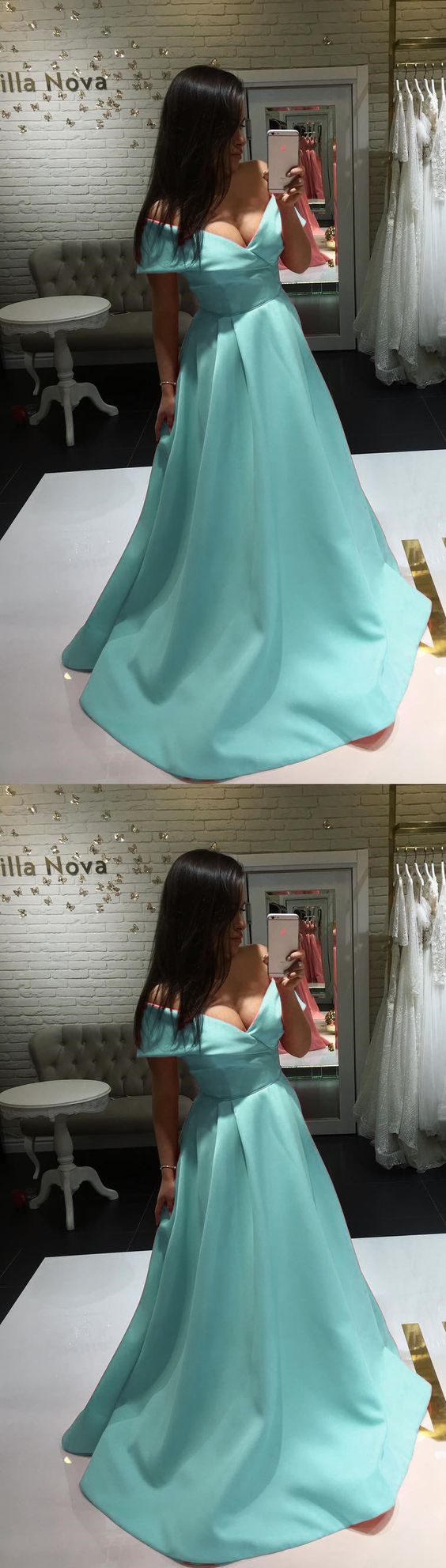 Cute A-line V-neck Off The Shoulder Evening Dresses Long Satin Baby Blue Prom Dresses 2019, D0196