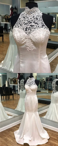 Vintage Lace Halter Satin Mermaid Fitting Wedding Dresses 2018, D0199
