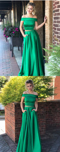 Hunter Green Prom Dress,two Piece Prom Dress,satin Evening Dress,simple Prom Dresses,D0200