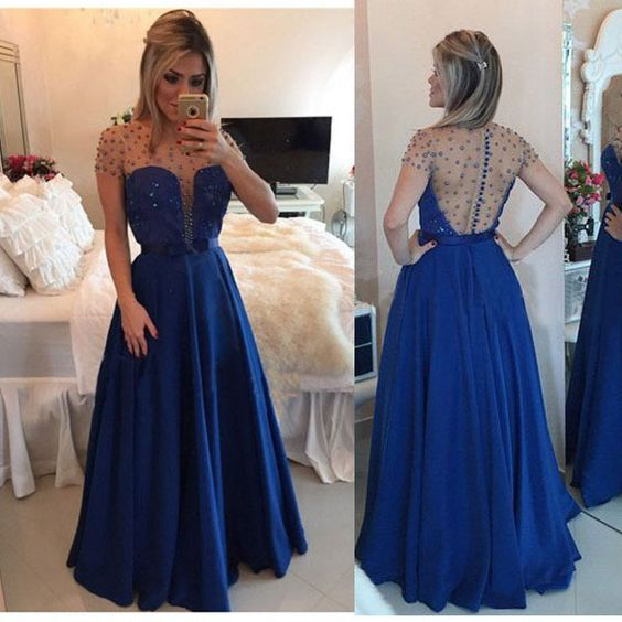 Sexy See Through A-line Pearls Royal Blue Satin Prom Evening Dress ,D0202