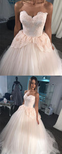 Gorgeous Lace Appliques Sweetheart Tulle Ball Gown Wedding Dresses Pink,D0204