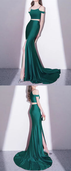 Hunter Green Jersey Two Piece Mermaid Prom Dresses 2018 Sexy Leg Slit Evening Gowns, D0205