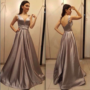 Simple A-line V-neck Satin Long Prom Dress Gray Backless Plus Size Evening Dress With Bow,D0206