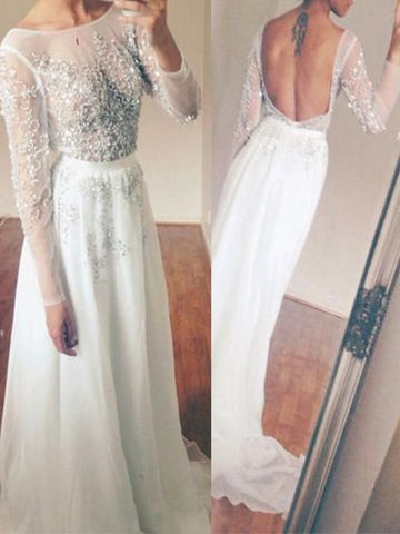 Long Sleeve White Tulle Beaded Sparkly Open Back Elegant Prom Gown, D0209