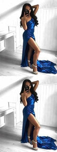 Cheap Sexy Modest One Shoulder High Side Slit Royal Blue Long Prom Dresses with train, D0250