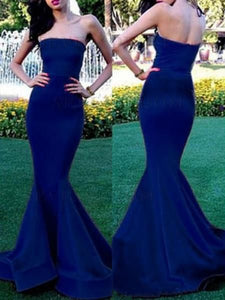 Long Royal Blue Strapless Simple Mermaid Sexy Evening Prom Gown Dresses,D0210