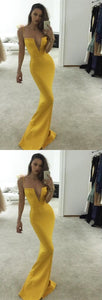 Yellow V Neck Spaghetti Straps Long Evening Dresses Cheap Prom Dresses With Sleeveless,D0212