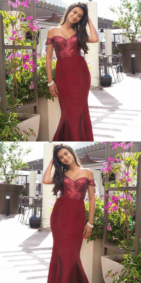 Off The Shoulder Mermaid Burgundy Long Prom Dress with Sequins, D0213