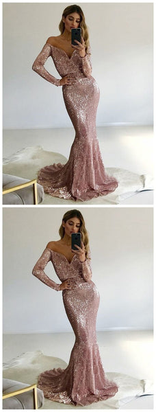Long Prom Dresses With Sleeves, Pink Formal Dresses Mermaid, 2019 Military Ball Dresses Sparkly, D0214