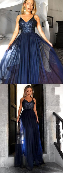 Dark Navy Long Prom Dresses A-line Spaghetti Straps Sequins Evening Gowns ,D0217