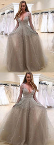Chic Plus Size Prom Dress Tulle African V Neck Long Sleeve Prom Dress, D0220