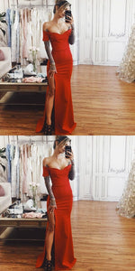Sheath Off The Shoulder Short Sleeves Red Prom Evening Dress, D0223