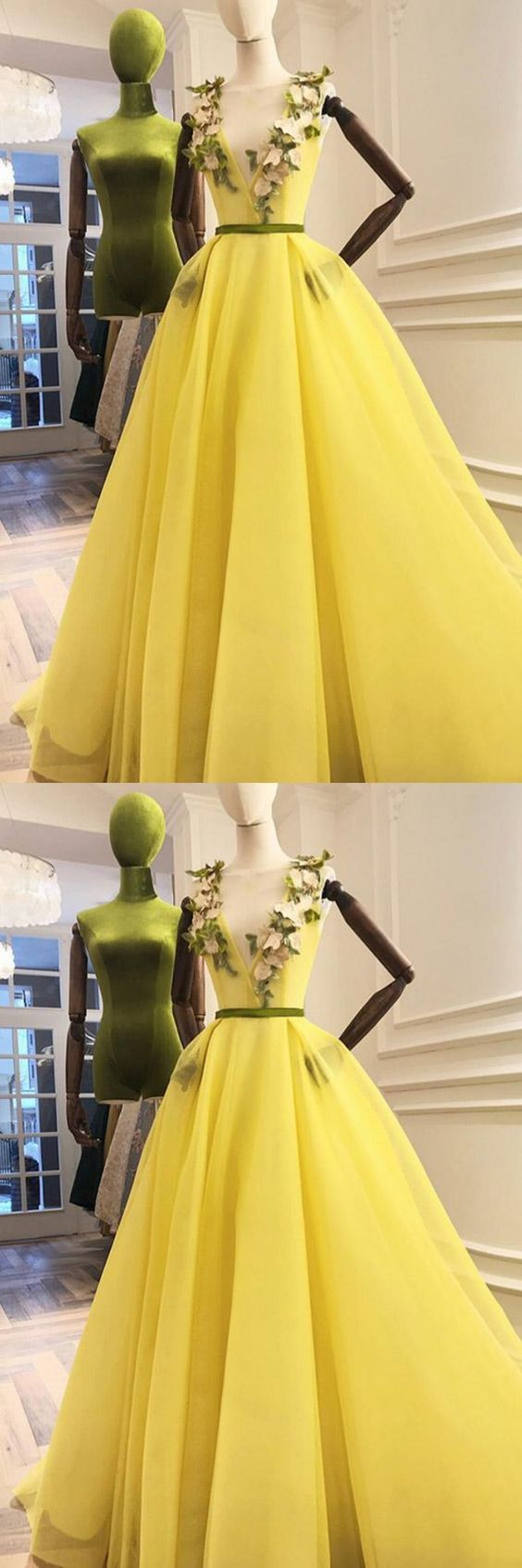 Charming Deep V Neck Tulle Prom Dresses, Sexy Long Evening Dresses,D0224