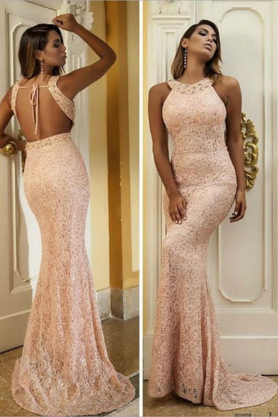 Sexy Open Back Prom Dress,Mermaid Open Back Evening Dress,Rose Pink Lace Formal Party Dress, D0226