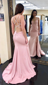 Elegant Pink Mermaid Long Prom Dresses, Sexy Cross Back Simple Evening Party Dress With Leg Split, D0227