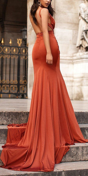 Sexy Mermaid Slit Backless Jersey Sleeveless Pleated Prom Dresses,D0230