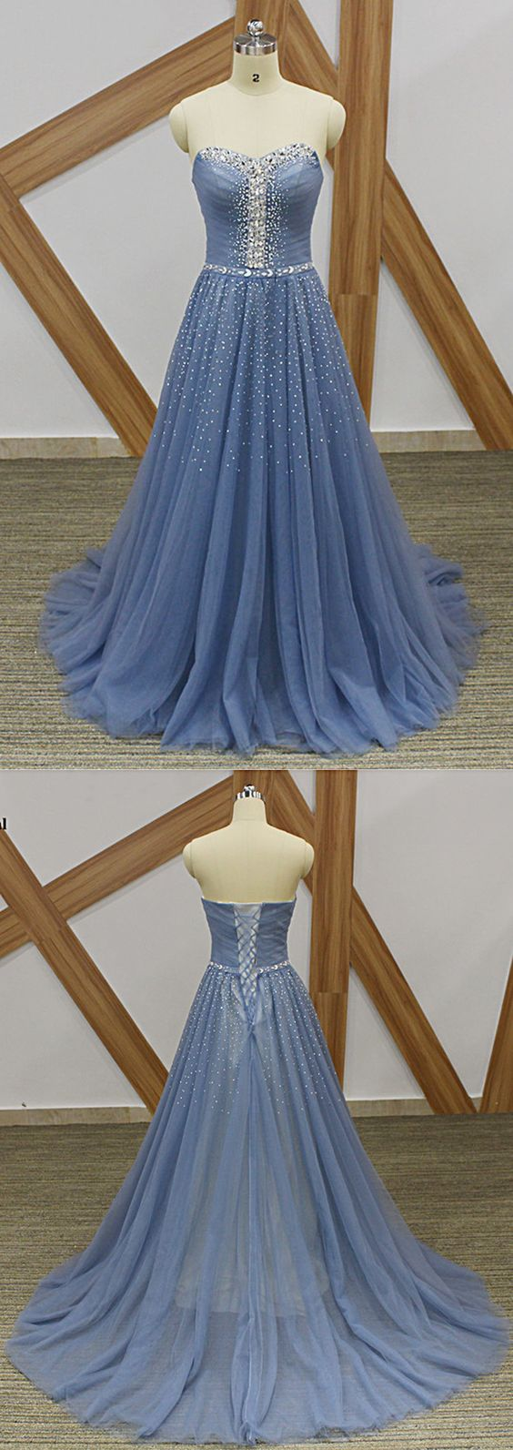 Beautiful Blue Tulle Beaded Sweetheart Long Formal Gown, Blue Evening Dresses, D0232