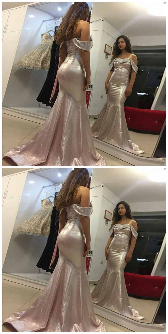 Mermaid Off The Shoulder Sweep Train Rose Gold Stretch Satin Prom Dress, D0233