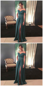 A-Line Off The Shoulder Dark Green Split Front Beaded Prom Dress, D0236
