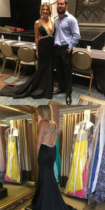 Deep V-neck Sleeveless Long Mermaid Black Satin Prom Dresses, Affordable Prom Dresses, D0237