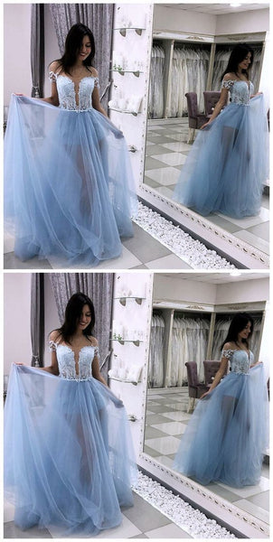 A-Line Off The Shoulder Light Blue Tulle Prom Dress With Lace, D0239