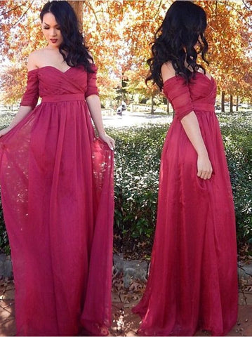 Custom Made Red Off-Shoulder Half-Sleeve Chiffon Draped Bodice Evening Dress, Prom Dress, Wedding Dress, Bridesmaid Dresses, D0240