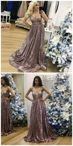 A-Line Spaghetti Straps Sweep Train Rose Gold Sequin Prom Dress, D0241