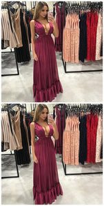 A-Line Deep V-Neck Pleated Burgundy Chiffon Prom Dress, D0243