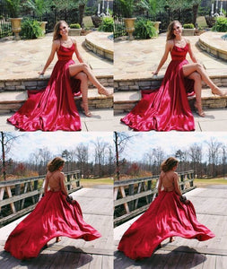 Long red Satin Open Back Prom Dresses Leg Slit Evening Gowns, D0244