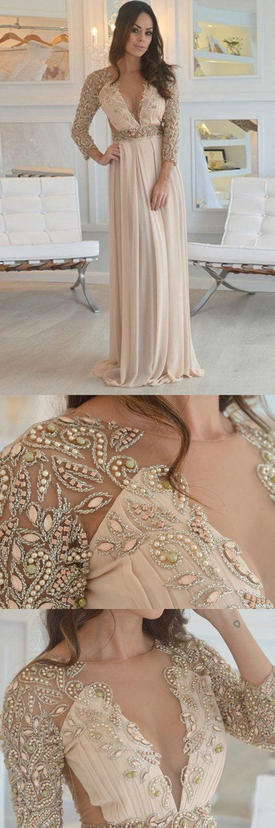 A-Line Round Neck Open Back Champagne Chiffon Prom Dress with Beading Pearls , D0247