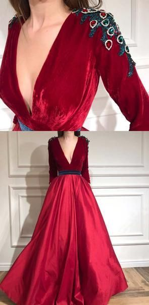 Cheap Charming Long Sleeves Red A-line Deep V-Neck Velvet Prom Dresses, Evening Dress, D0249