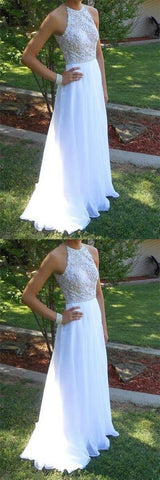 Fabulous White High Neck Sleeveless Prom Dress with Beading,Evening Dress, D0252