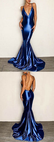 Mermaid Spaghetti Straps Backless Sweep Train Royal Blue Prom Dress, D0253