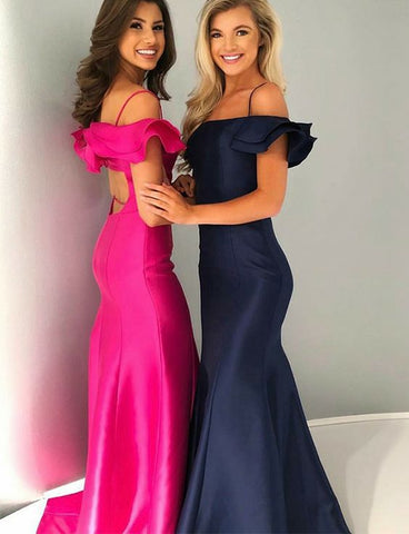 Mermaid Spaghetti Straps Open Back Sweep Train Prom Dress with Ruffles, D0254