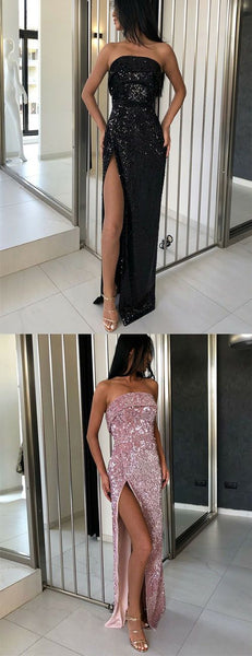 Hot Strapless Sequin Prom Dresses Sheath Split Long Evening Gowns Strapless, D0256