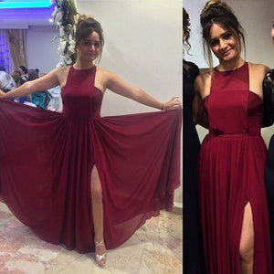 Beautiful Wine Red Slit Prom Dress, Unique Style Party Dress, Floor Length Formal Gowns, D0263